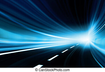 Abstract speed motion in urban highway road tunnel, blurred motion toward the light. Computer generated colorful illustration.