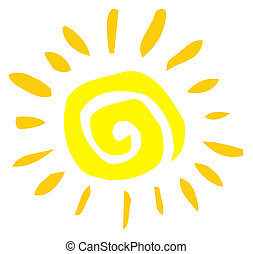 Yellow Painted Style Spiral Sun