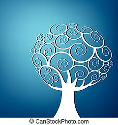 Abstract swirl tree background