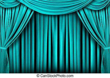 Abstract Teal Theatre Stage Drape Background