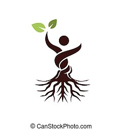 Abstract Tree Man Raise Hand with Green Leaf