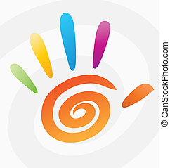 Abstract vector colored spiral hand with fingers.