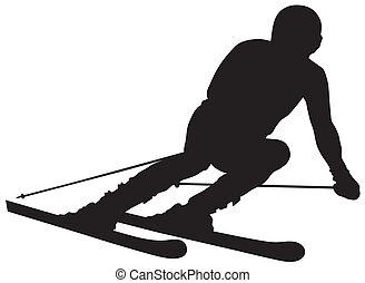 Abstract vector illustration of skier