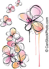 abstract flowers, ink drawing and watercolor painting, vector background