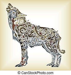 Illustration of abstract design wolf.