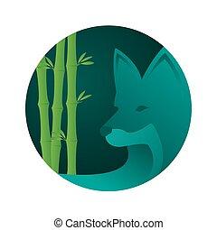 Abstract wolf logo design illustration