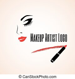 Abstract woman face with closed eye. Trace of lipstick. Makeup artist logo. Vector illustration.
