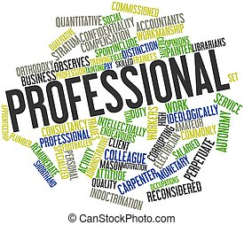Abstract word cloud for Professional with related tags and terms