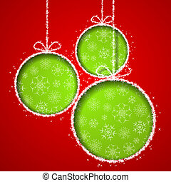 Abstract Xmas greeting card with green Christmas balsl cutted from red paper background. Vector eps10 illustration