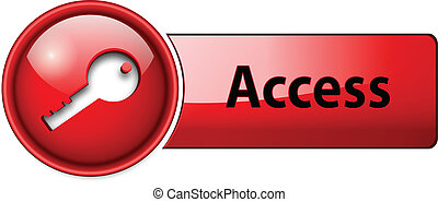 access, enter icon button, red glossy.