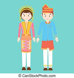 aceh north sumatra couple men woman wearing traditional wedding clothes indonesia pakaian adat