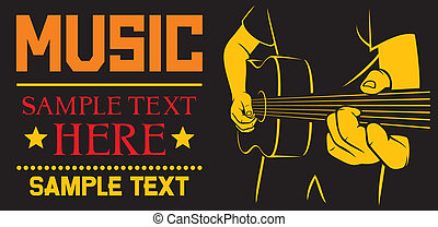 acoustic guitar playing - vector background (man plays a guitar, playing acoustic guitar, musical poster design, music design)