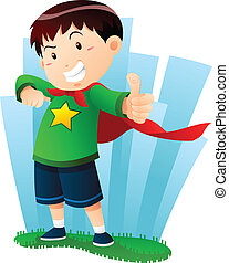 a boy in action pose pretending to be superhero.