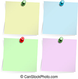 Four adhesive notes with thumbtack isolated on white