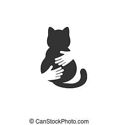 Adopt a cat logo. Cat head silhouette. Vector illustration.