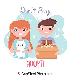 adopt a pet, girl with white cat and boy with dog in box