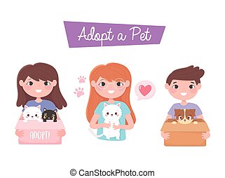adopt a pet, happy boy and girls with dog and cat cartoon