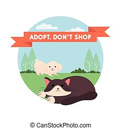 adopt dont shop lettering in ribbon with dog and cat in the garden