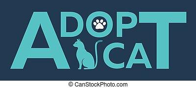 Adopt logo. Dont shop, adopt. Cat adoption concept Vector illustration