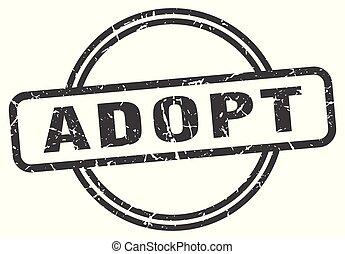 adopt vintage stamp. adopt sign