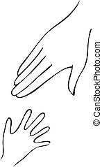 Symbolical image of a hand of mother and hand of the child. The concept is adoption of the child