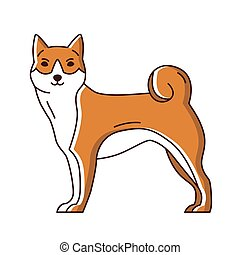 Adorable Akita or Shiba Inu. Cute purebred dog or puppy isolated on white background. Funny lovely domestic animal or pet of Japanese breed. Colorful vector illustration in modern line art style.