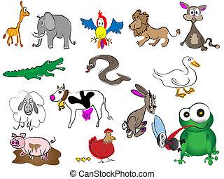 adorable cartoon hand drawn animals