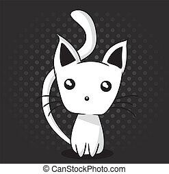 Adorable kitten on dotted background, vector illustration