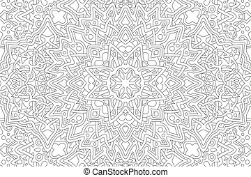 Adult coloring book page with linear pattern