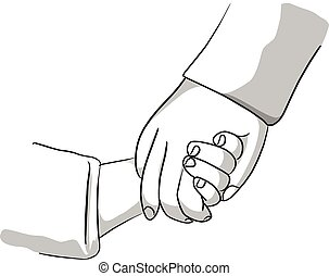 Adult holding a hand of child vector illustration sketch hand drawn with black lines isolated on white background. Family support concept.