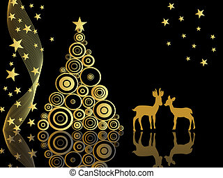 vector illustration of roe deers on a christmas background