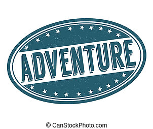 Adventure grunge rubber stamp on white, vector illustration