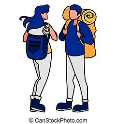 adventurous couple with travelbag