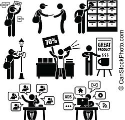 A set of people stick figure pictograms representing different methods of marketing and advertisement strategies.