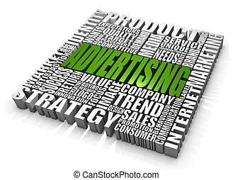 Group of advertising related words. Part of a series of business concepts.