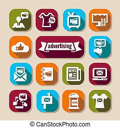 Elegant Marketing and Advertisement Icons Set.