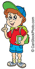 Advising school boy - vector illustration.