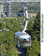 An aerial tram transporting people to and from the hilltop in Portland Oregon.