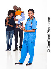 african american female nurse with family