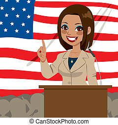 African American politician candidate woman giving a speech in front of United States of America flag