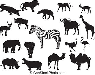 A vector of african animal silhouettes isolated on white