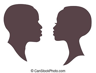 African woman and man face silhouette