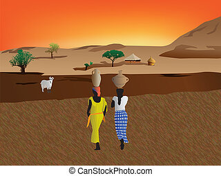 African women carrying water to the village