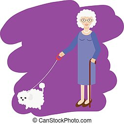 Aged lady walking with white fluffy dog. Old women, elderly grandmother with pet. Vector illustration
