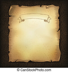 Aged old scroll parchment with ribbon image on dark brown leather texture. Vector illustration, EPS10