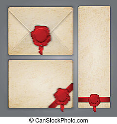 Aged paper envelope and postcards with ribbons wax seals. Illustration contains gradient mesh