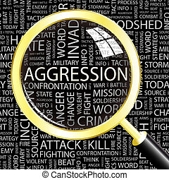 AGGRESSION. Background concept wordcloud illustration. Print concept word cloud. Graphic collage.