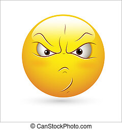 Creative Abstract Conceptual Design Art of Smiley Emoticons Face Vector - Angry Expression