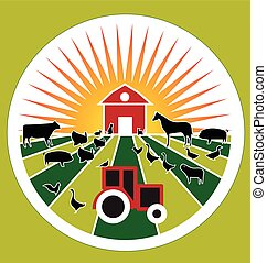 Agriculture farm fresh products domestic animals vector logo