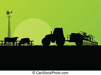 Agriculture tractor and beef cattle in cultivated country fields landscape background illustration vector